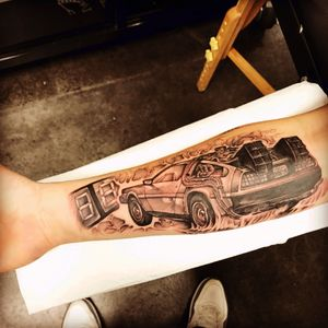 When this baby hits 88 miles an hour were going to see some serious shit. Awesome back to the future tattoo done by Sal Pipitone at contemporary tattoo in staten island, New York #backtothefuture #delorean #88mph