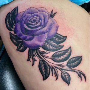 Purple #rose thigh piece, I made for a client. #rosetattoo #colorrealism #realism #blackandgrey #blackandgray