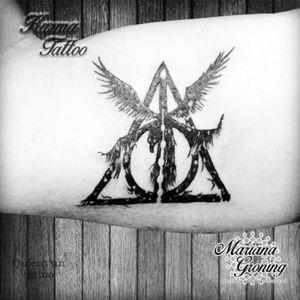 Deathly hallows tattoo, Harry Potter #tattoo #marianagroning #karmatattoo #cdmx #MexicoCity #harrypotter #deathlyhallows #Potter #PotterHead