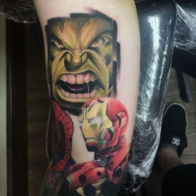 Ironman and hulk #ironman #hulk #avengers #theavengers #marvel #marvelcomics #marvelcomicstattoo #comicbook #comictattoo #colour #colourrealism #green #red #tattoo #tattooartist #ink #inked #inkedup #infinitywar #ageofultron #superhero
