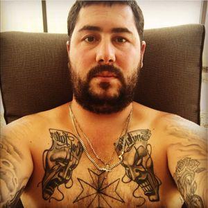 #chesttattoo #smilenowcrylater #maltesecross #blackandgreytattoo #tattooeddad
