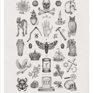 filler ideas. #pinterest #fillers #small #moth #black #skull #owl #bones #grave #bugs #candle #hand