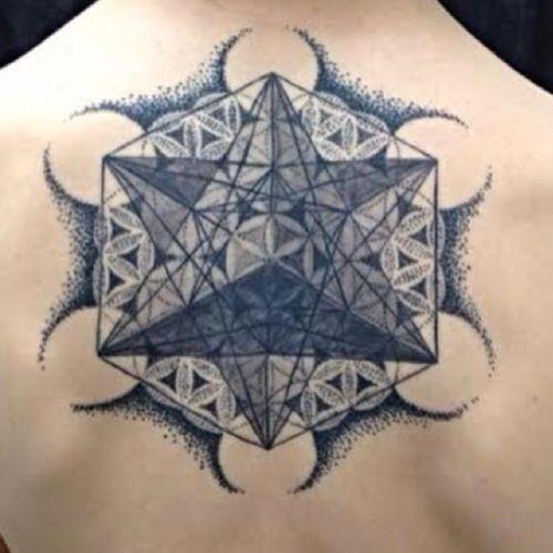 #metatronscube #tattoo for Justin- thank you so much! #blackandgreytattoo #geometrictattoo #geometry #sacred #dots #sacredgeometrytattoo #startetrahedron #coloradotattooers #ladytattooers