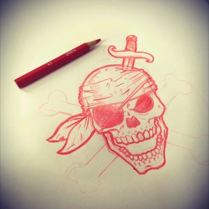 Le premier dessin que j'ai realisé pour un client de mon pote. Il veut que ce soit moi qui fasse le tattouage du debut à la fin!!! #skull #pirate #skull2016 #pirateskull