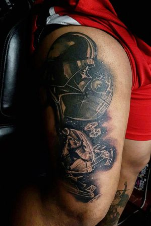 Star wars themed thigh piece. #starwars #darthvader #deathstar #milleniumfalcon
