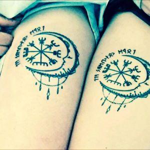 "Mine & my sisters matching vegísvír tattoos. The runes read ""love conquers all"" #tattoo #norse #viking #vegisvir #runes #sisterink"
