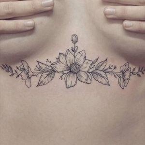 my floral underboobs #underboobs #sternum #flowers #magnolia #leaves #flower #under #boobs