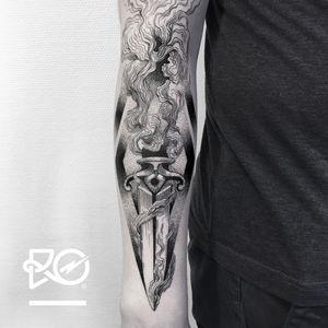 By RO. Robert Pavez • Smoke Dagger • Studio Nice Tattoo • Stockholm - Sweden 2017  • #engraving #dotwork #etching #dot #linework #geometric #ro #blackwork #blackworktattoo #blackandgrey #black #tattoo #fineline #dagger #daggertattoo