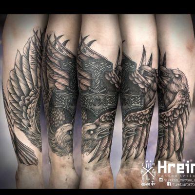 Tattoo by Hreinn at Emement tattoo Oslo #blackwork #blackandgrey #norsemythology #norse #hugin #munin #mjolnir