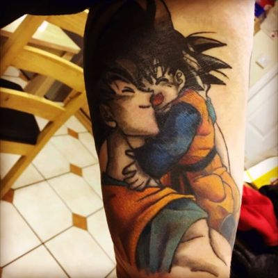 #dragonballz #Goku #Goten #fartherhood #Firsttime #hug #animetattoo #anime #father #son #supersaiyan