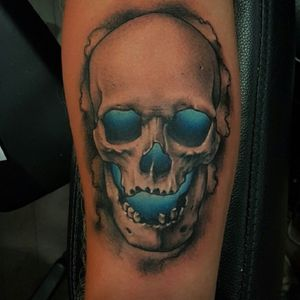 #miamitattoos #skull #blueskull