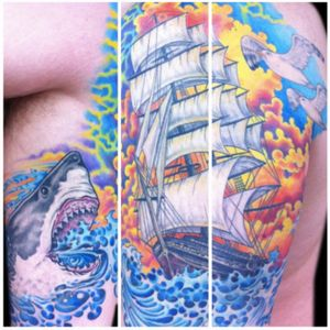 Tattoo by Lark Tattoo artist/owner Bruce Kaplan.  #color #colorful #colorbomb #ocean #water #waves #clouds #sky #sunset #bird #shark #greatwhiteshark #animal #sea #boat #ship #nautical #sailor #seagull #sailingship #side #back #ribs #brucekaplan #owner #artist #ownerartist #artistowner #LarkTattoo #LarkTattooWestbury #NY #BestOfLongIsland #VotedBestOfLongIsland #BestOfNYC #VotedBestOfNYC #VotedNumber1 #LongIsland #LongIslandNY #NewYork #NYC #TattoosEvenMomWouldLove  #NassauCounty #tattoo #tattoos #tat #tats #tatts #tatted #tattedup #tattoist #tattooed #tattoooftheday #inked #inkedup #ink #tattoooftheday #amazingink #bodyart