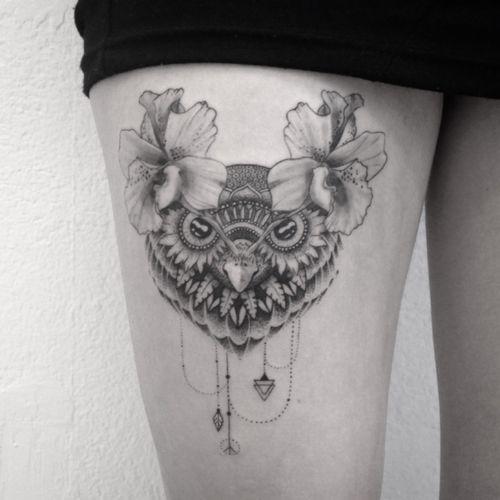 #tattoo #owl #owltattoo #dotwork #dotworktattoo #lespetitspointsdefanny