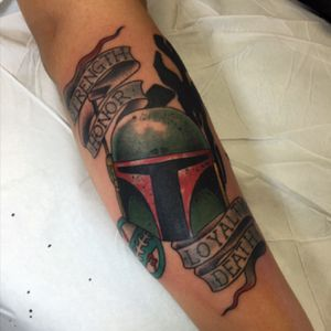 Dedicated to the baddest bounty hunter in the galaxy. #bobafett done at #capturedtattoo