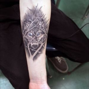 Forest wolf tattoo #forest #tree #wolf