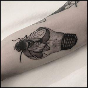 #totemica #tunguska #black #fly #DeathisEverywhere #FlyontheWindscreen #lightbulb #tattoo #blackworkers #lagtattoos
