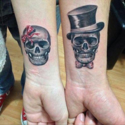 #hisandhers #skulls #tophat #bow #welove #blackandgrey #skull #bowtie