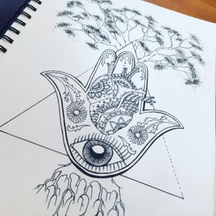 For a friend #tattoodesign representing the seven #shakra #mandala #anatomicalheart #tree #eye #cresent #hamsa #triangle #linework #design