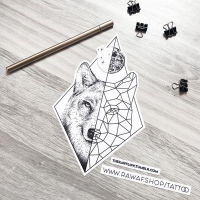 Dotwork/geometric wolf with full Moon. Download PDF: www.rawaf.shop/tattoo #dotwork #blackwork #dotworktattoo #wolf #animal #moon #geometric #geometrictattoo