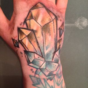 The newest tattoo from Martin of Force Ink in Hannover #crystal #forceink #hand #color #sleeve