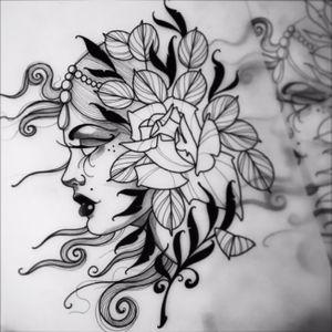 Design available #danberry #tattoo #tattooflash #ladyhead