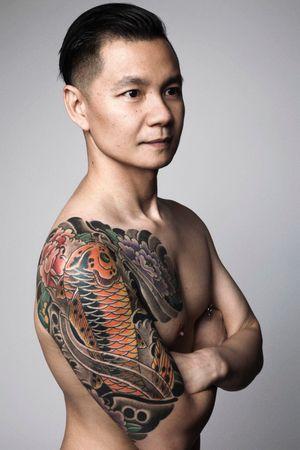 Alan Yeoh #koifish #koitattoos #peonies #japanesetattoo #sleevetattoo