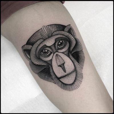 #totemica #tunguska #black #monkey #head #animal #nature #tattoo #blackworkers #originalsintattooshop