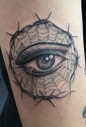 #singleneedletattoo #finelinetattoo #eyetattoo #spiderweb #blackandgreytattoo #tattoooftheday #bigsteve