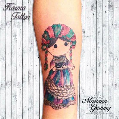 Mexican doll tattoo #tattoo #tatuaje #color #mexicocity #marianagroning #tatuadora #karmatattoo #awesome #colortattoo #tatuajes #claveria #ciudaddemexico #cdmx #tattooartist #tattooist #mexicandoll #muñecamexicana