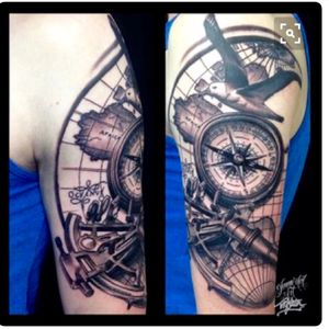 #megandreamtattoo simular with sextant, ships compass rose and a specific chart underneath. Any nautical items incorporated