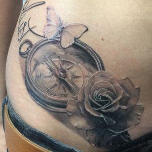 Wanderlust. #compass #rosetattoo #butterfly #blackngrey