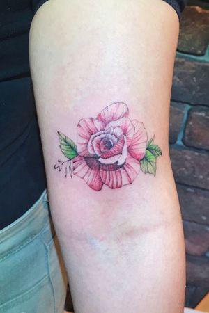 Rose Rose tattoo #rose #rosetattoo #floral #flower #armtattoo #floraltattoo #color #watercolor #line
