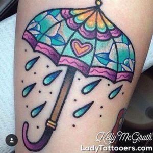 Umbrella tattoo #Umbrella #Rain #Drops #Heart