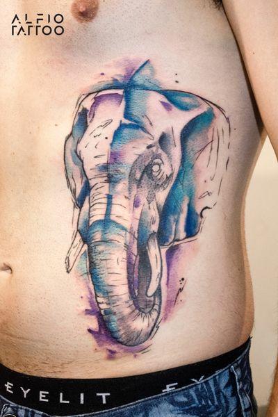Elephant by Alfiotattoo in Tattoo Show Argentina!!! #Elephant #Elefante #sketch #tattoolife #inked #argentinatattoo #tattoo #eternalink #alfiotattoo #design #designtattoo #watercolor #watercolortattoo #sketchtattoo #santelmo #buenosaires #argentina #tattooshow2018