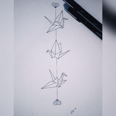 Origami Birds #tattoo #arms #birds #origami #italy #girl #black #lines #minimal #cute