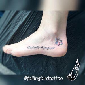 One of my first tattoos 😁#fallingbirdtattoo #lovemydog #tattoo_artist #tattzubi #lovemyjob #tattooist #newcomer #tattoolove #dogpaw #pet