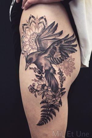 #raventattoo #raven #tattoodo #inkedgirls #dotwork #mandala #mandalatattoo #australia #adelaide #blackworkers #floraltattoo #tatouage