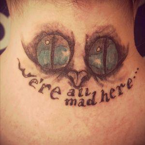 #cheshirecattattoo #aliceinwonderland #wereallmadhere