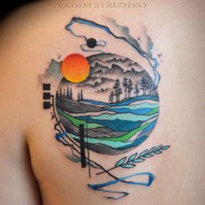 #scenery #sun #tinydetails #color #trees #wheat by #tattooartist #sedtattooart @sed_tattoo_art