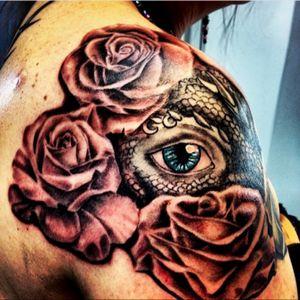 Right shoulder done by Vinnie Almanza, Rebirth Tattoo, Anchorage Alaska.