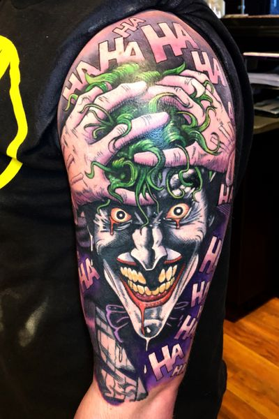 HA! It's all a joke! Everything anybody ever valued or struggled for... it's all a monstrous, demented gag! So why can't you see the funny side? Why aren't you laughing? #tattoartist #batman #thekillingjoke #alanmoore #dccomics #comicbooktattoos #geektattoos #nerdtattoo #geeksterink #geeksterinklegends #chrishilltattoos #whitedragontattoofamily #15fountainstreet