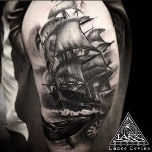 Tattoo by Lark Tattoo artist Lance Levine.  #bng #bngtattoo #blackandgray #blackandgraytattoo #ship #shiptattoo #ocean #oceantattoo #tattoo #tattoos #tat #tats #tatts #tatted #tattedup #tattoist #tattooed #tattoooftheday #ined #inkedup #ink #tattoooftheday #amazingink #bodyart #tattooig #tattoosofinstagram #instatats #larktattoo