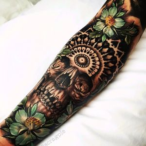 #halfsleeve #skull #flowers #sleeve #mandala