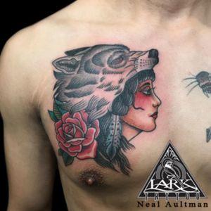 Tattoo by Lark Tattoo artist Neal Aultman. See more of Neal's work here:http://www.larktattoo.com/long-island-team-homepage/neal-aultman/ #wolf #wolftattoo #wolfhead #holfheadtattoo #wolfheaddress #wolfheaddresstattoo #wolfheaddressgirl #wolfheaddressgirltattoo #traditionaltattoo #colortattoo #chesttattoo #tattoo #tattoos #tat #tats #tatts #tatted #tattedup #tattoist #tattooed #tattoooftheday #inked #inkedup #ink #tattoooftheday #amazingink #bodyart #tattooig #tattoosofinstagram #instatats#larktattoo