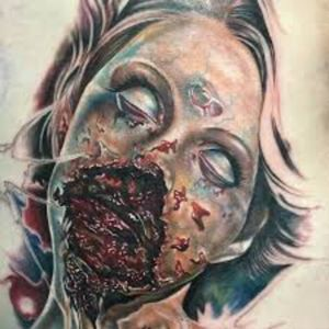 Gnarly zombie lady!#megandreammtattoo #zombie #gore #horror #girly