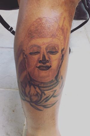 Buddha leg tattoo 1st session