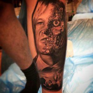 #TwoFace #batman #thedarkknight #movie #realisitictattoo #realisimtattoo #tattoo #sleeve #michaelinksane #shadyink