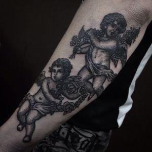 #cherub #cherubs #blackandgrey #blackandgreytattoo #blackwork #angeltattoo #saigonink #anspham