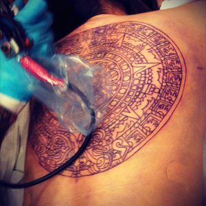 Im looking for a Seattle tatto artist to finish my Aztec calendar. Artist dissapeared on me :( Pleaseeee help! (Look at other picture for desired outcome)