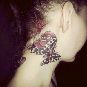 #butterflytattoo #RoseTattoos #necktattoos